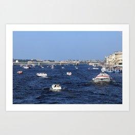 Boats Traffic on Neva River near Trinity Bridge. Art Print