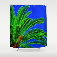 palm tree Shower Curtains featuring Palm Tree by Phil Smyth