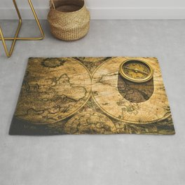 Vintage-Style World Map with Compass Wall Art #2 Rug