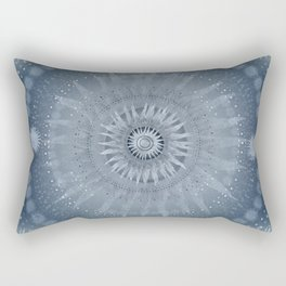 """Indigo blue & Cinder Vault Mandala(Silver stars)"" Rectangular Pillow"