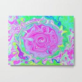 Groovy Aqua, Pink and Pastel Green Liquid Art Metal Print