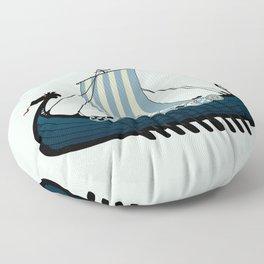 Blue viking ship Floor Pillow