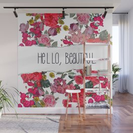 Hello Beautiful, Vintage Floral Print in White Wall Mural