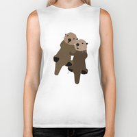 otters Biker Tanks featuring Made For Each Otter by Carrie Ambo
