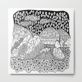 Zentangle Night Solitude Metal Print
