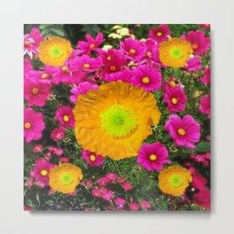 FUCHSIA GOLDEN YELLOW POPPY FLOWERS GARDEN Metal Print