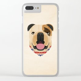 American Bulldog Dog Portrait Clear iPhone Case