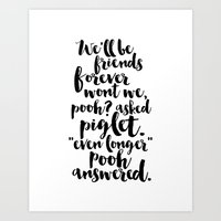 Winnie Pooh Quote,Friendship Gift,Kids Room Decor,Nursery Decor,Kids Gift, Quote Prints,Wall Art Art Print