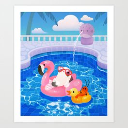 Cory cats in the swimming pool 2 Art Print