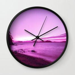 Neon Japan Beach Landscape at Sunset| Vaporwave Aesthetic Wall Clock