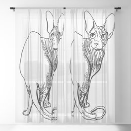 Sphynx Cat Illustration - Sphynx - Cat Drawing - Naked Cat - Wrinkly Cat - Black and White Sheer Curtain