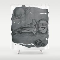 outer space Shower Curtains featuring Outer Space Shark by Pink Shark Scales
