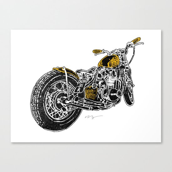 """Rootbeer Bobber"" Custom Motorcycle Canvas Print"