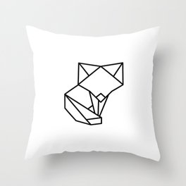 Tiny Origami Fox Throw Pillow