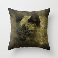 abigail larson Throw Pillows featuring Abigail blue eyes cat by AliceArtDotCom