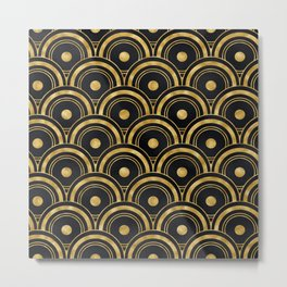 Sensual, Sultry Art Deco Pattern in Glam Gold Metal Print