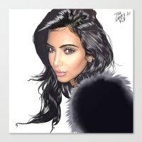kim kardashian Canvas Prints featuring KIM KARDASHIAN by LANKY