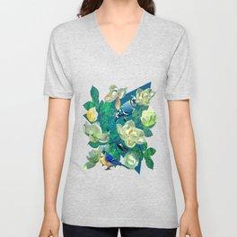 Blue Jays and Magnolias Unisex V-Neck