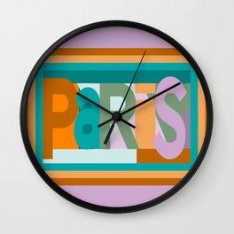 Paris font play art deco style Wall Clock