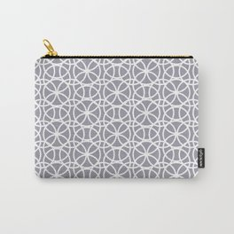 Pantone Lilac Gray and White Rings Circle Heaven, Overlapping Ring Design Carry-All Pouch