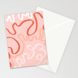 Pathways in Coral  Stationery Cards