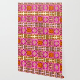 Vintage Geometric Abstract Quilt Pink and Mustard Wallpaper
