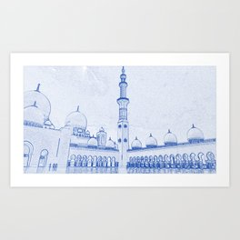 Architectural blueprint art prints society6 blueprint drawing of abu dhabi sheikh zayed mosque islamic architecture art print malvernweather Image collections