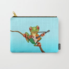 Tree Frog Playing Acoustic Guitar with Flag of Ireland Carry-All Pouch
