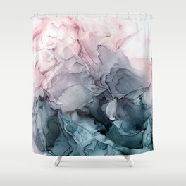 Blush and Paynes Gray Flowing Abstract Reflect Shower Curtain