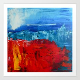 Red Flowers Blue Mountains Abstract Landscape Art Print