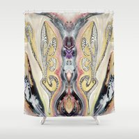 cock Shower Curtains featuring Heart of the Cock by CrismanArt