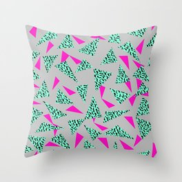 Romy - 80s, Memphis, 90s, bright, throwback, retro, revival, street, urban pattern design Throw Pillow