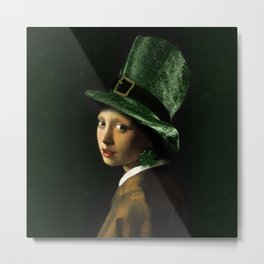 Girl With A Shamrock Earring Metal Print