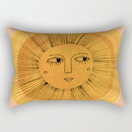 Sun Drawing Gold and Pink Rectangular Pillow