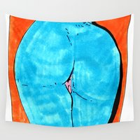 booty Wall Tapestries featuring blue butt by withapencilinhand