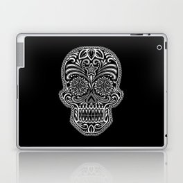 Intricate White and Black Day of the Dead Sugar Skull Laptop & iPad Skin