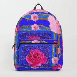 BLUE  GEOMETRIC ART CERISE & PINK FUCHSIA ROSES Backpack