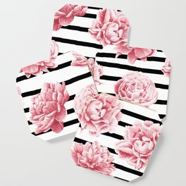 Simply Drawn Stripes and Roses Coaster