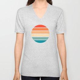 Retro Summer Sunset Stripes In Circle - Emiyo Unisex V-Neck