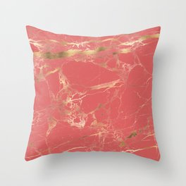 Marble, Coral + Gold Veins Throw Pillow
