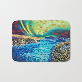 A Polar Experience | Northern Lights and River - Abstract Oil Painting Bath Mat