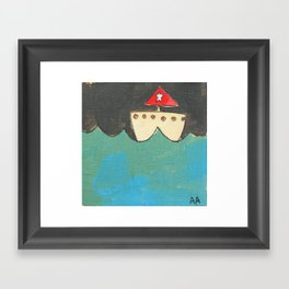 Red Sailboat Framed Art Print