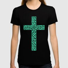 Mint Leopard Cross Black Womens Fitted Tee MEDIUM