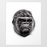 gorilla Art Prints featuring Gorilla by Creadoorm