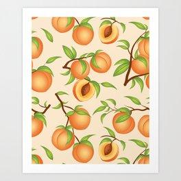 Practice What You Peach - Peach Pattern Art Print