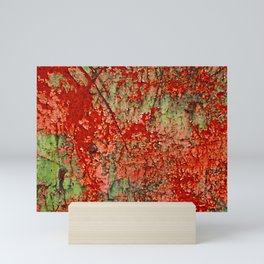 Abstract Red Rust on Green Paint Mini Art Print