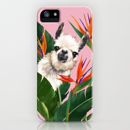 Llama in Bird of Paradise Flowers iPhone Case