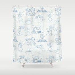 Alice in Wonderland Toile Blue Shower Curtain