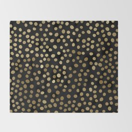 Christmas Gold and Black Polka Dots Throw Blanket