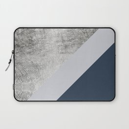 Modern minimalist navy blue grey and silver foil geometric color block Laptop Sleeve